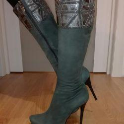Natural suede demi-season boots