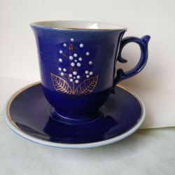 cup with saucer. cobalt Bronnitsky FZ