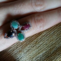 New ring with ruby, sapphire and emeralds