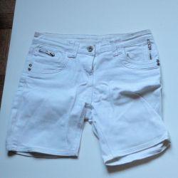 White elongated shorts
