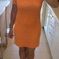 Orange dress with white polka dots