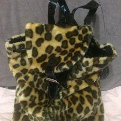 Backpack velor leopard for children