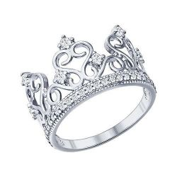 Crown ring with cubic zirkonia