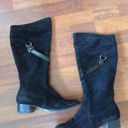 Suede boots demi-season