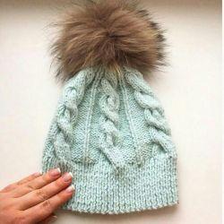 New mint cap from Italian yarn hand made