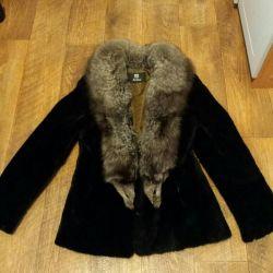 Fur coat with natural fur, size 46-48
