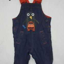 Velvet semi-overalls, 6-9 months