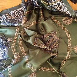 New Satin Scarf with leopard print.