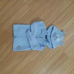 Хлопковая детская кофта мишка 80 blue seven