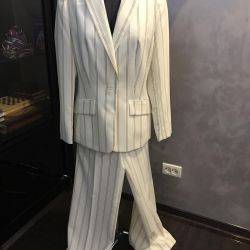 Suit trouser 46 r, white in a strip, Italy new