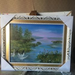 Oil painting canvas on stretcher baguette frame