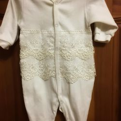 Lace set with coveralls and a hat