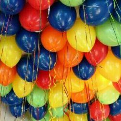 Balloons with helium.