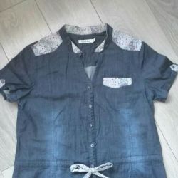 The shirt is female, thin, jeans !!! 50 size !!!
