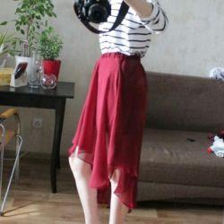Chiffon skirt with asymmetrical hem from Bershka