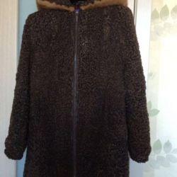 Astrakhan fur coat with mink