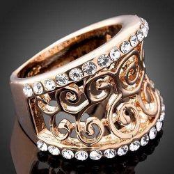 Graceful Golden Curl Ring, 17 rr