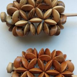 Hairpins and bracelets made of wood. 100 rubles apiece.