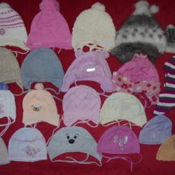 Caps autumn-winter, helmet, mittens from 1 to 3 years