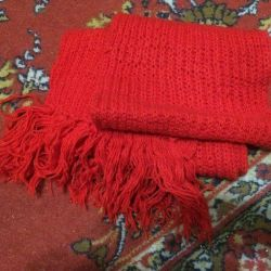 Two scarves are bright, soft, warm and comfortable to wear.