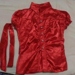 Silk blouse red