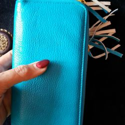 Δερμάτινο πορτοφόλι συμπλέκτη μπλε