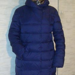 Down jacket blue 48 New Length-92 with zipper, buttons
