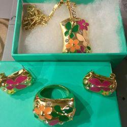 Un set de bijuterii noi în aur galben cu email