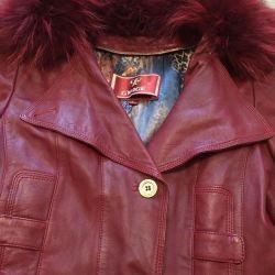 Jachetă din piele cu blană de iepure