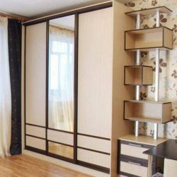 Sliding wardrobe with side drawers and shelves