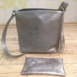 Silver bag and wallet made of genuine leather