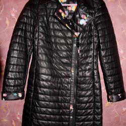 Yağmurluk siyah deri, deri ceket