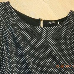 Rochie tunică de femei negre în mazăre albă