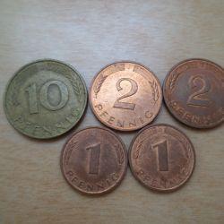 Монеты 1-10 пфенниги 1990-94 Германия