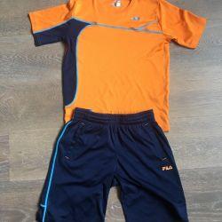 6-8 л шорты футболка спортивные оранжевый с синим