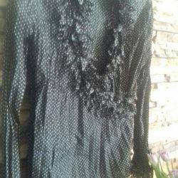Black blouse in peas Taifun / 50r / New