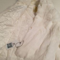 White rabbit fur coat new