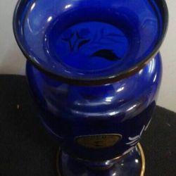 Βάζο μπλε Cobalt Bohemia