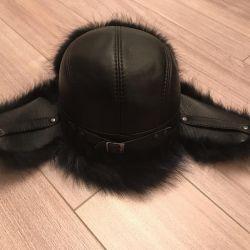 Pălărie din piele cu blană naturală