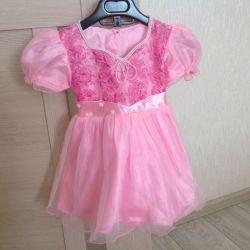 Φόρεμα κομψό ροζ 68-74 μέγεθος