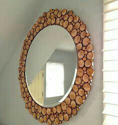 Mirror made of wood cuts.