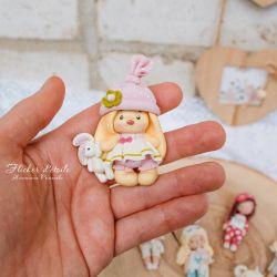 Brooch - polymer clay bunny and teddy bear