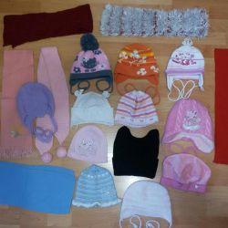 Hats, scarves, socks.
