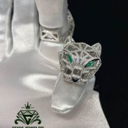 Gold ring panther cartier with diamonds