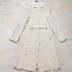 Χειροποίητο παλτό, γαλακτώδες χρώμα 44-46