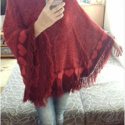 Warm poncho, hand knitted