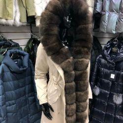Beige parka with fox fur under sable