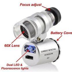 Mini-lupă cu microscop 60X cu iluminare din spate