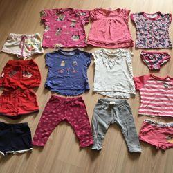 Children's things, t-shirts, shorts, leggings on 1-1.5 g