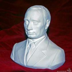 Bust V.V. Gipsul alb al lui Putin Înălțime 19 cm